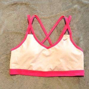 Nike dri-fit white & hot pink sports bra